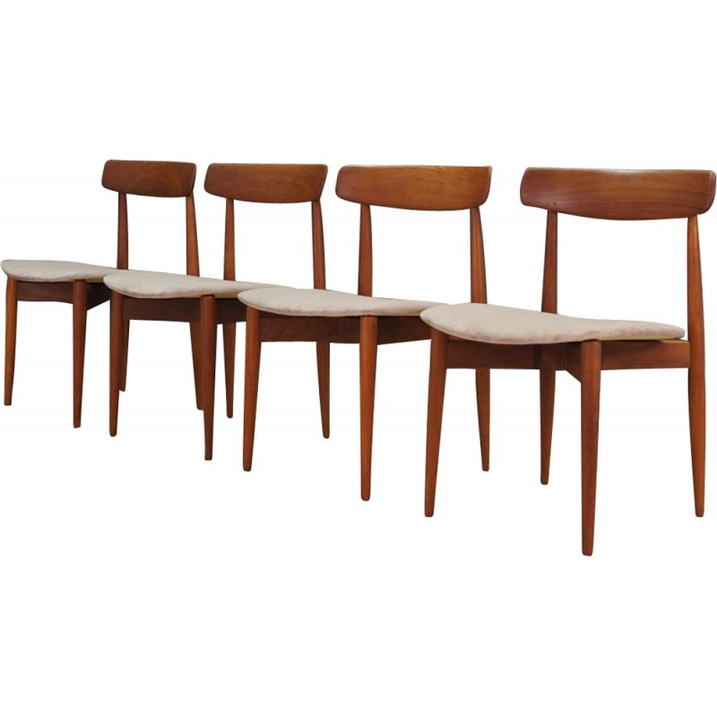 Set of 4 grey chairs in teak by Henry Walter Klein