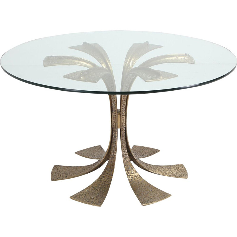 Table in hammered brass and glass by Luciano Frigerio