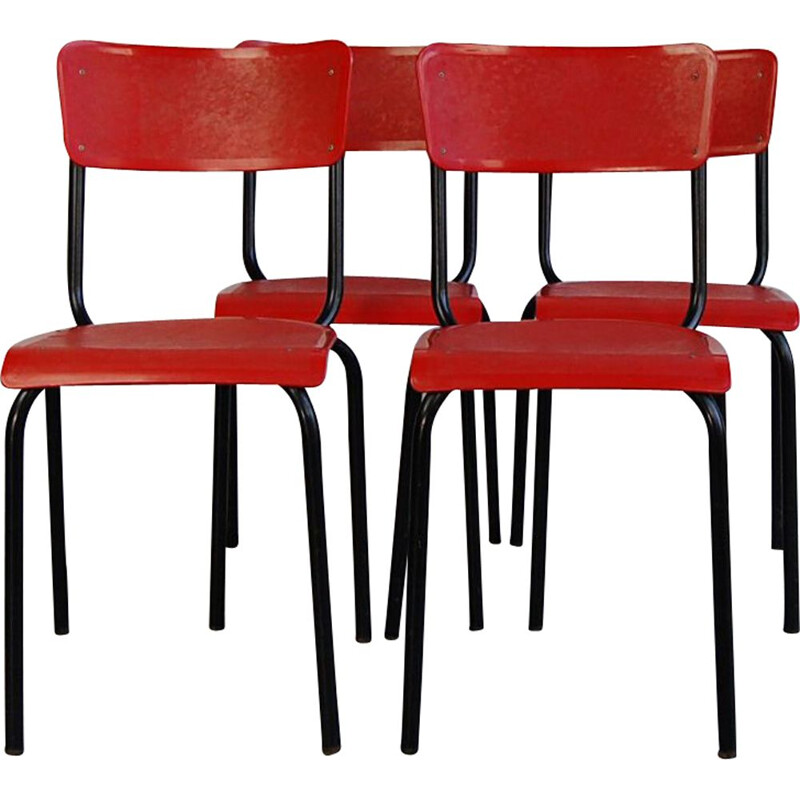 Set of 4 vintage chairs C59 by Pierre Guariche for Meurop