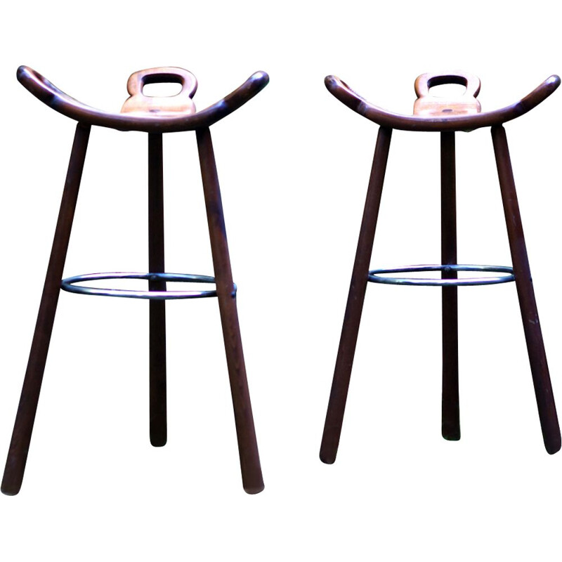 Pair of vintage stools Spanish