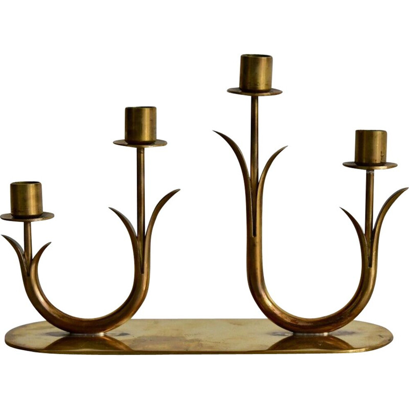 Vintage swedish brass candle holder by Gunnar Ander for Ystad Metall - 1960s