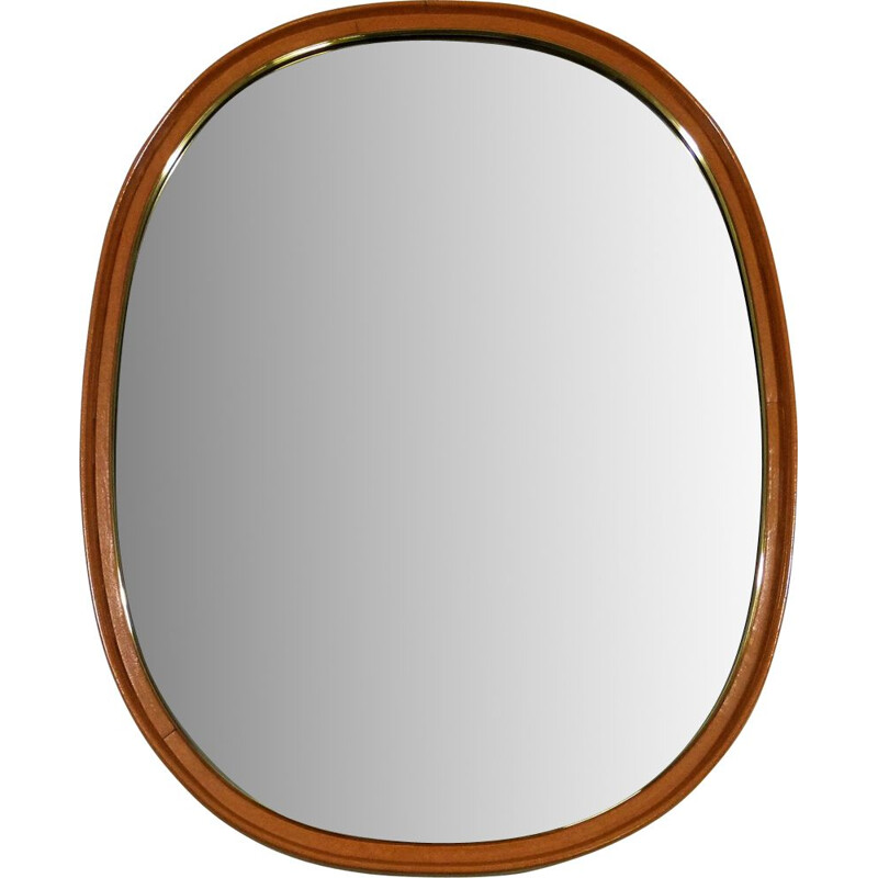 Vintage Wall Mirror Leather & Brass 1950s