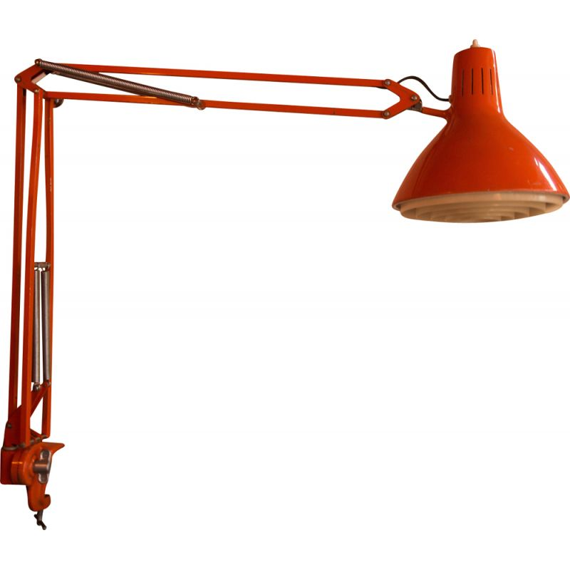 Vintage Luxo L-1 lamp by Jacob Jacobsen in orange iron 1970