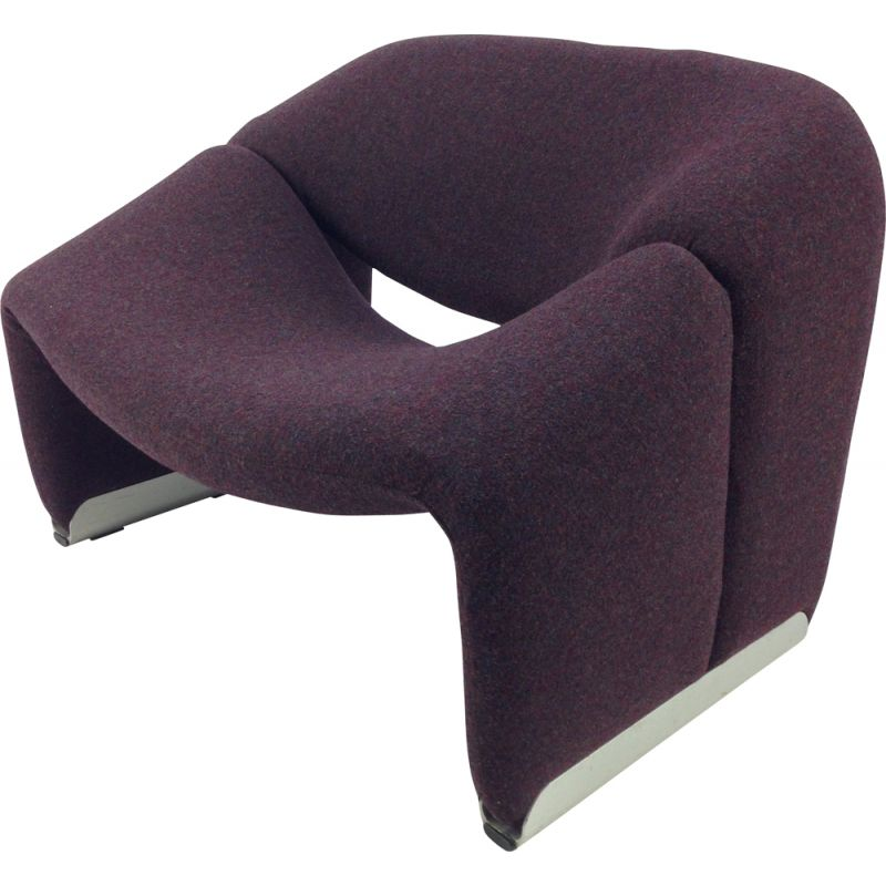 Vintage F598 Groovy armchair for Artifort in purple fabric and aluminium 1980