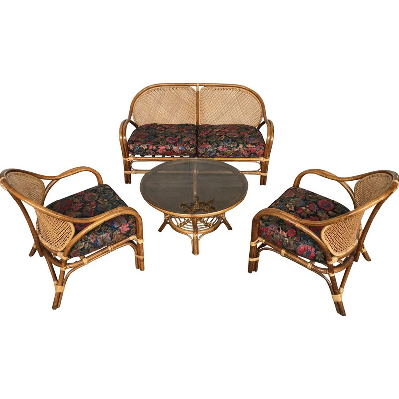 Vintage lounge set in fabric and rattan 1960