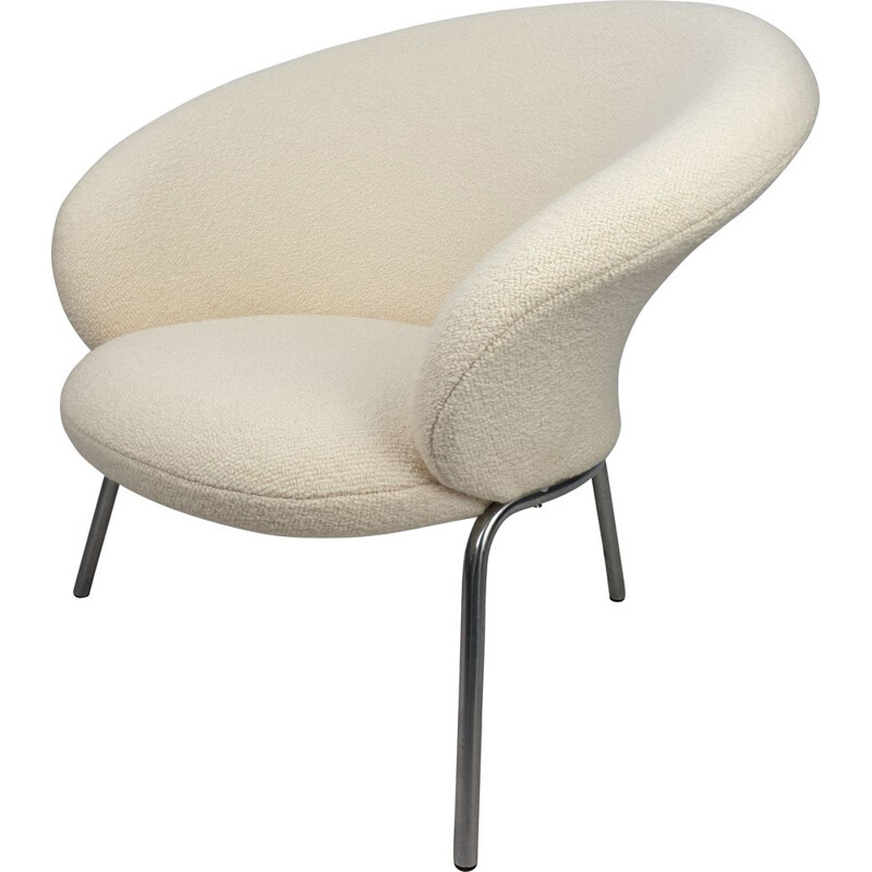 Vintage F570 Lounge Chair by Pierre Paulin for Artifort in white fabric