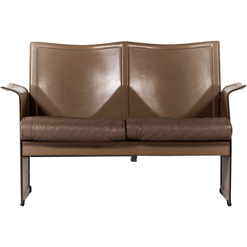 Vintage Korium sofa for Matteo Grassi in brown leather and steel 1970