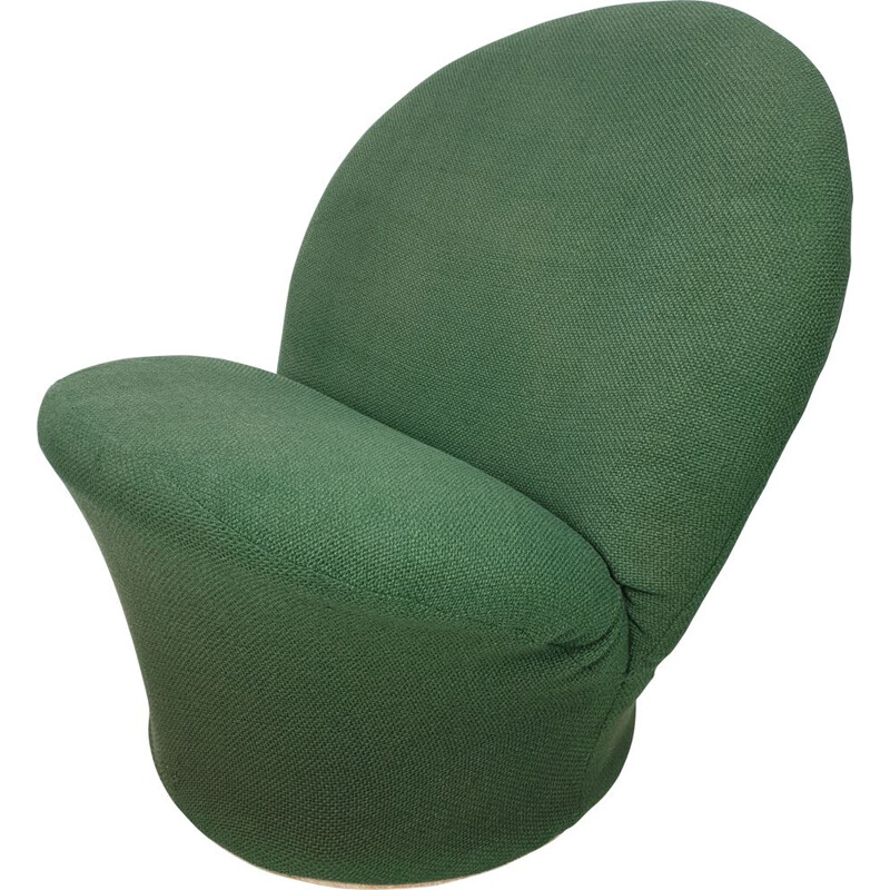 Vintage Model F572 armchair for Artifort in wood and green wool 1960