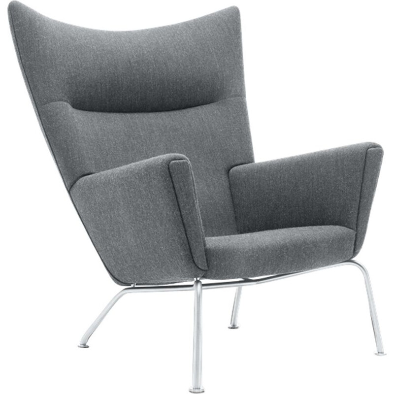 """Wing chair"" or ""CH445"" armchair in fabric by Hans J. Wegner for CARL HANSEN & SON"