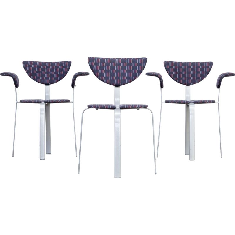Set of 3 chairs in metal and fabric for BKS