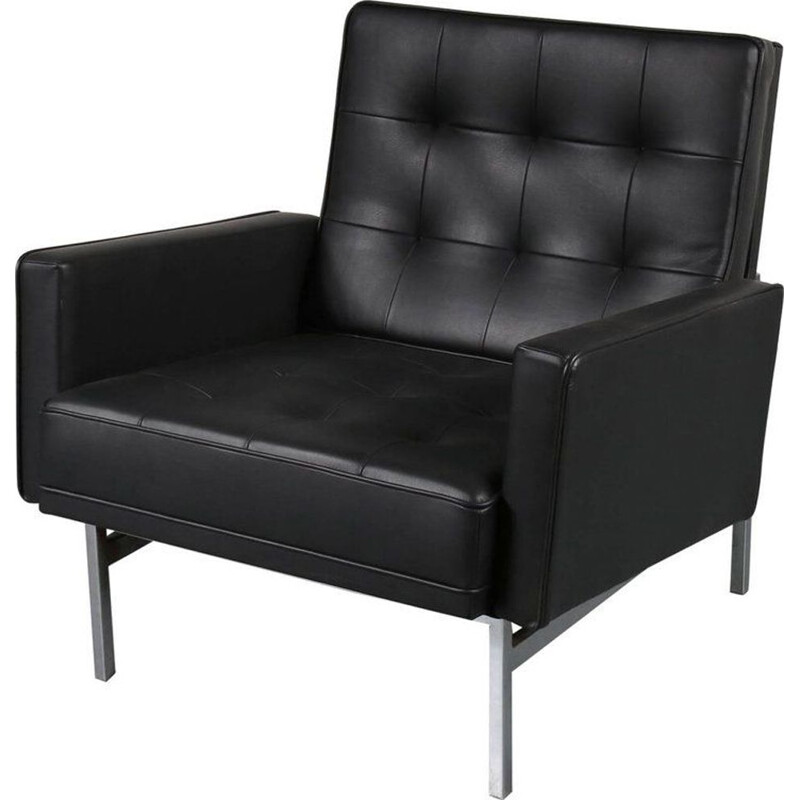 Vintage black leather armchair by Florence Knoll