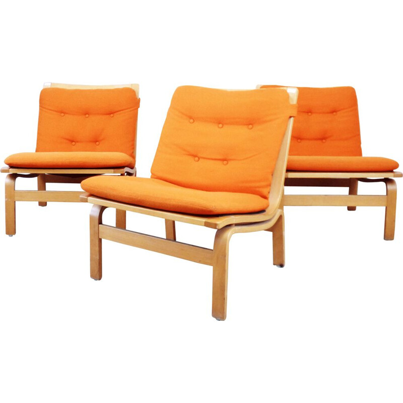 Armchair in orange fabric by Karl-Erik Ekselius for JOC Vetlanda