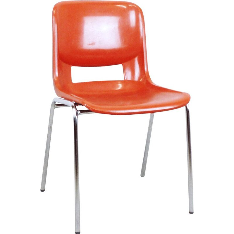 Orange school chair in plastic by ISKU OY