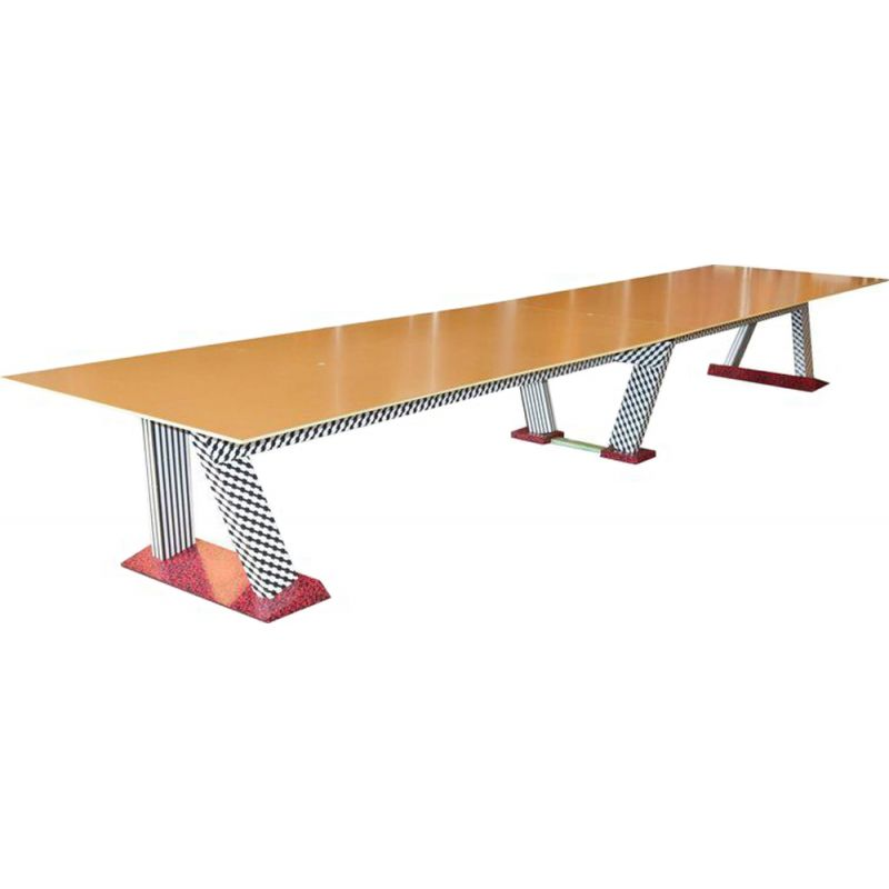 Memphis style conference table in laminated wood