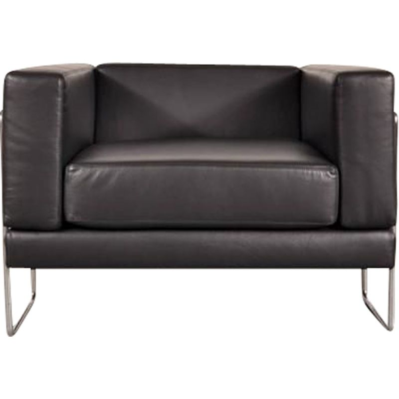 Black armchair in leather by Kwok Hoï Chan for Steiner