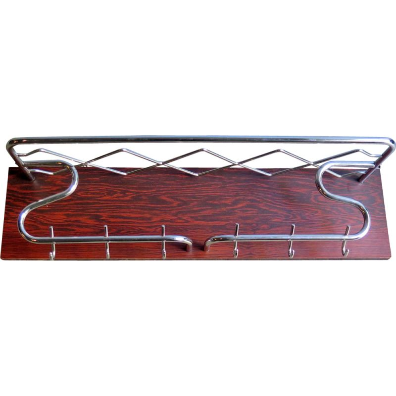Vintage chrome in a rosewood veneer board coat rack