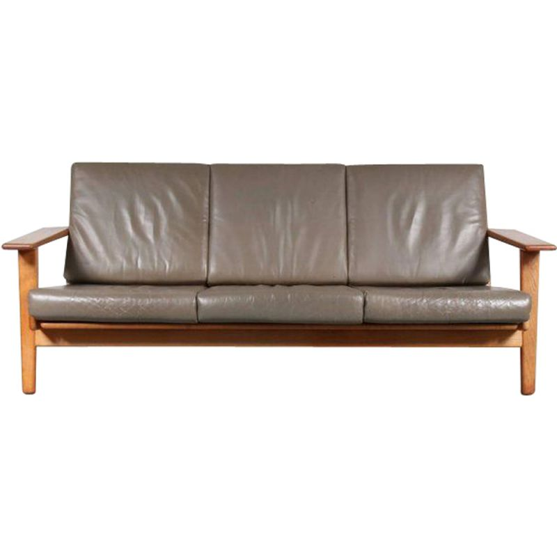 3-seater sofa in grey leather by Hans J. Wegner for GETAMA