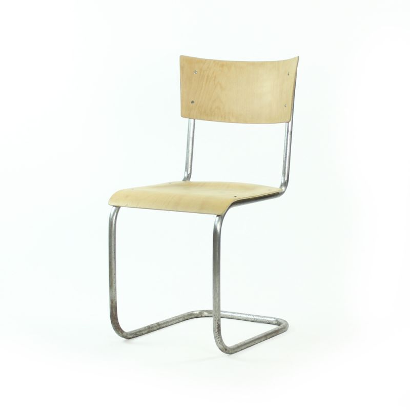 Mart Stam Design.Vintage Chair Tubular With Molded Plywood Mart Stam Design For Thonet Czechoslovakia 1950s