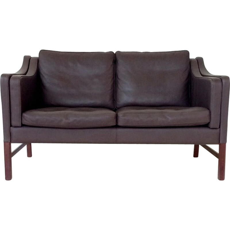 Vintage 2 seater sofa in brown leather  1970s
