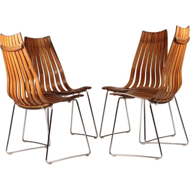 Set of 4 vintage dining chairs by Hans Brattrud in rosewood 1960