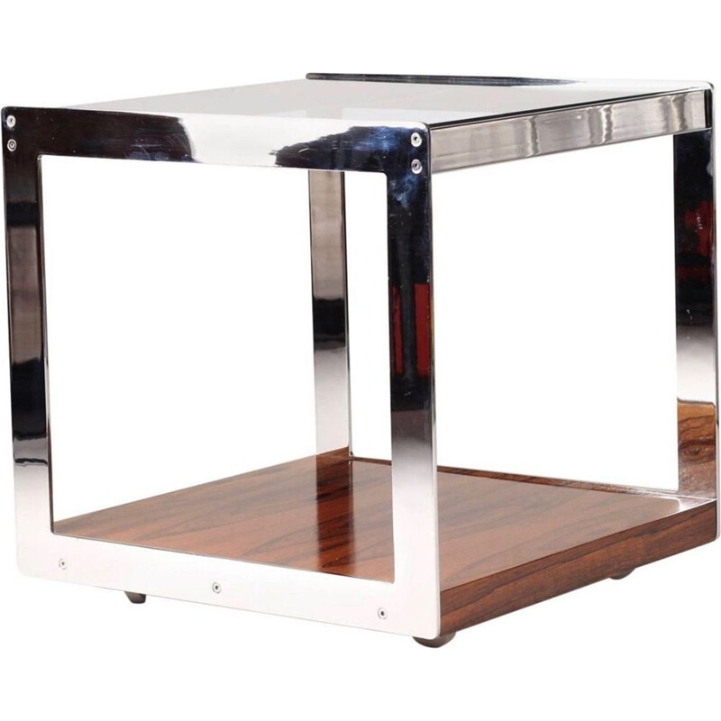 Vintage side table in rosewood and glass by Richard Young for Merrow Associates 1970s