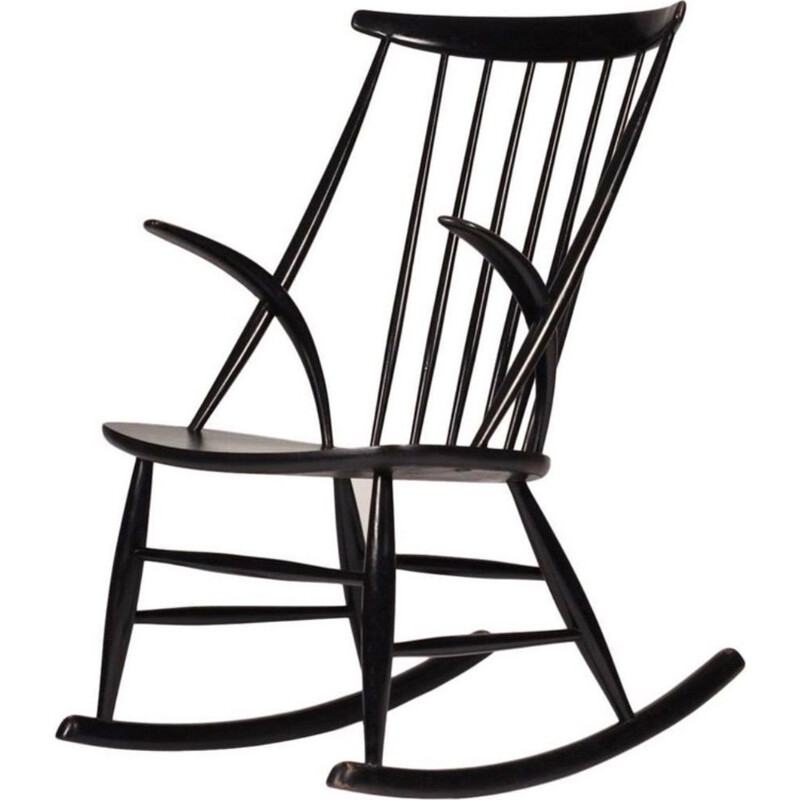 Vintage black rocking chair by Illum Wikkelso 1958s