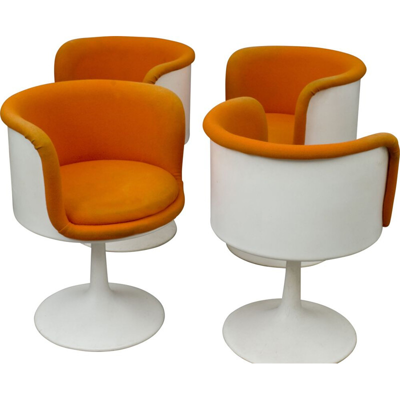 Set of 4 vintage swivel chairs for Formica in orange fabric and fiberglass 1970