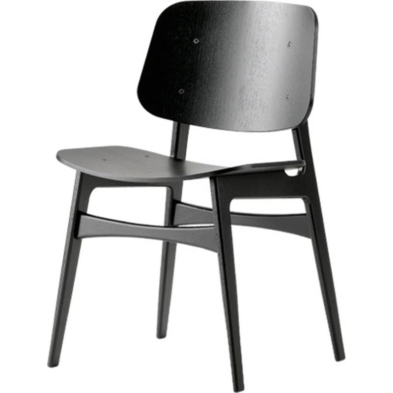 """Soborg wood base 3050"" chair, Borge Mogensen for FREDERICIA"