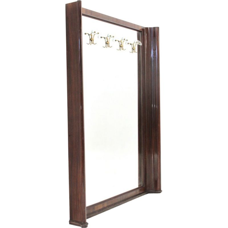 Vintage wood frame mirror with racks 1950s