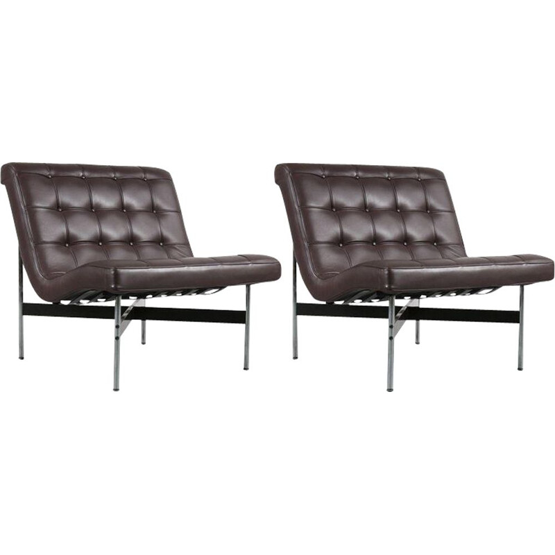 Pair of vintage armchairs for ICF Milano in brown leather and metal 1990