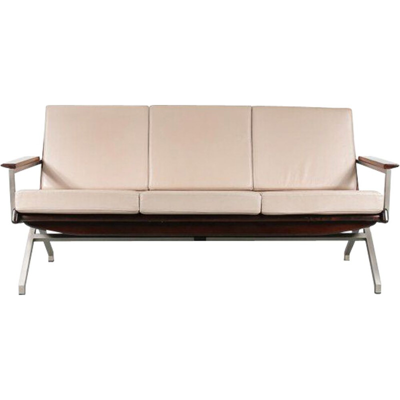 Vintage dutch sofa for Gelderland in beige leather and wood 1960