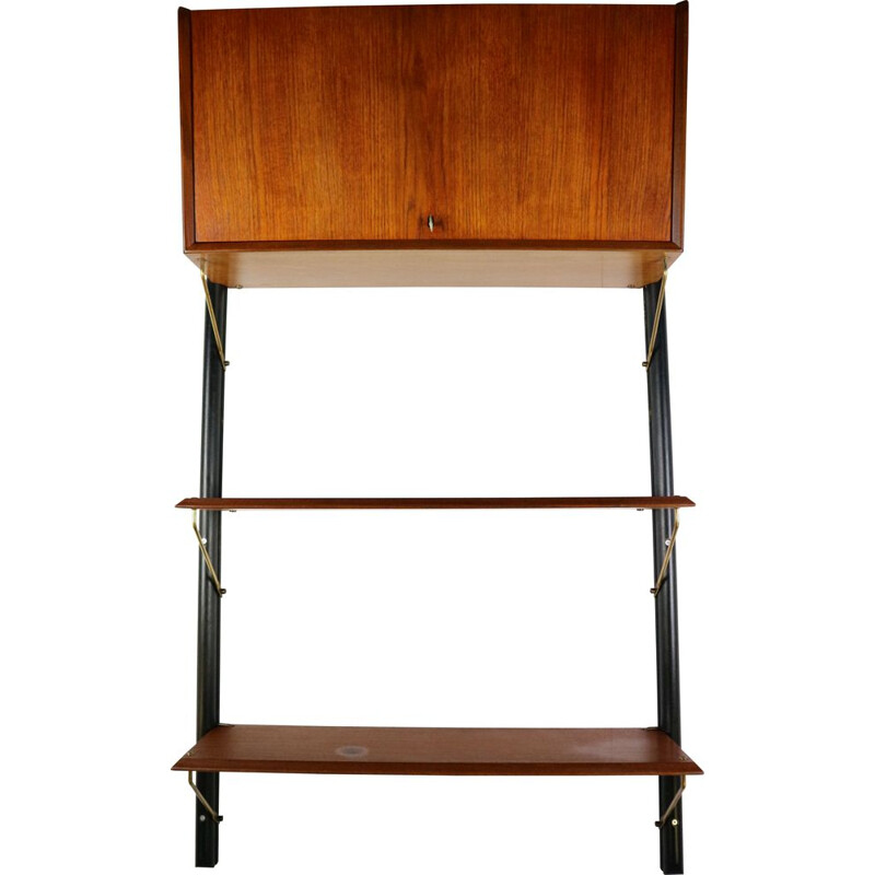 Vintage dutch wall unit for WeBe in teak and brass 1950