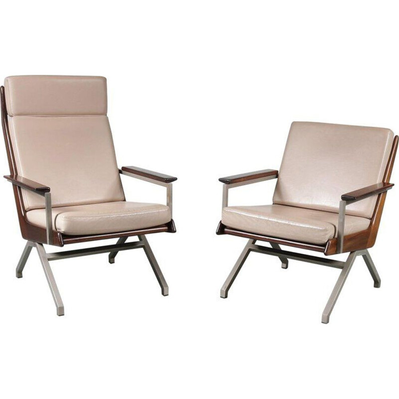 Pair of vintage armchairs for Gelderland in beige fabric and metal 1960