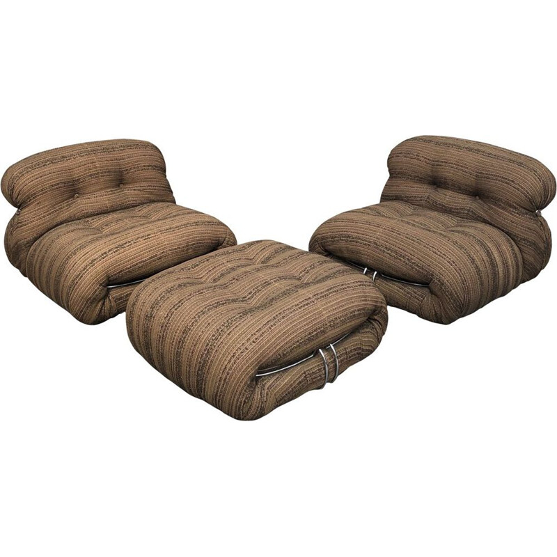 Vintage lounge set for Cassina in brown fabric and aluminium 1970