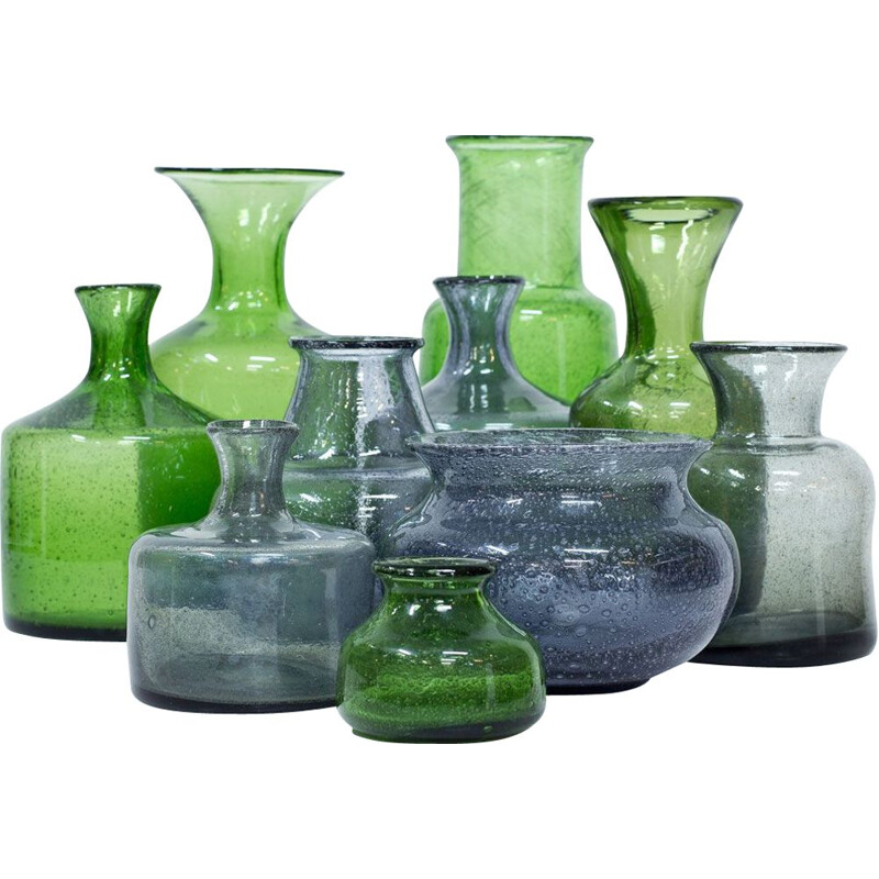 Set of 10 vintage Vases in Glass by Erik Höglund for Boda Sweden 1950s