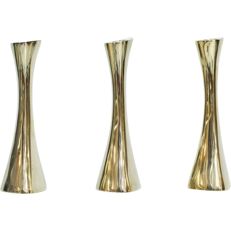 Set of 3 vintage Candlesticks in Brass by K. E. Ytterberg for BCA Eskilstuna Sweden 1960s