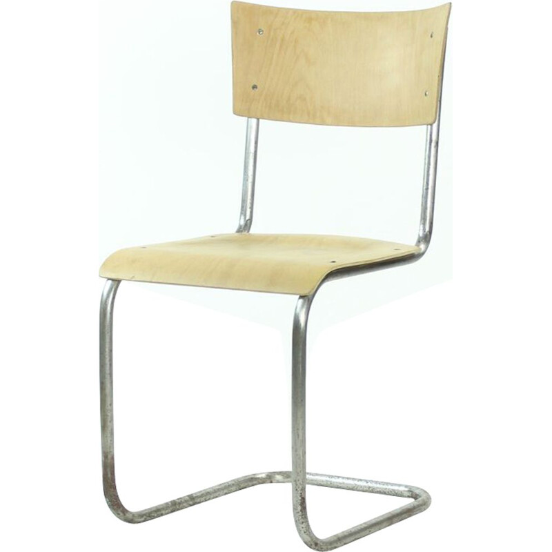 Vintage Chair Tubular With Molded Plywood, Mart Stam Design For Thonet, Czechoslovakia 1950s
