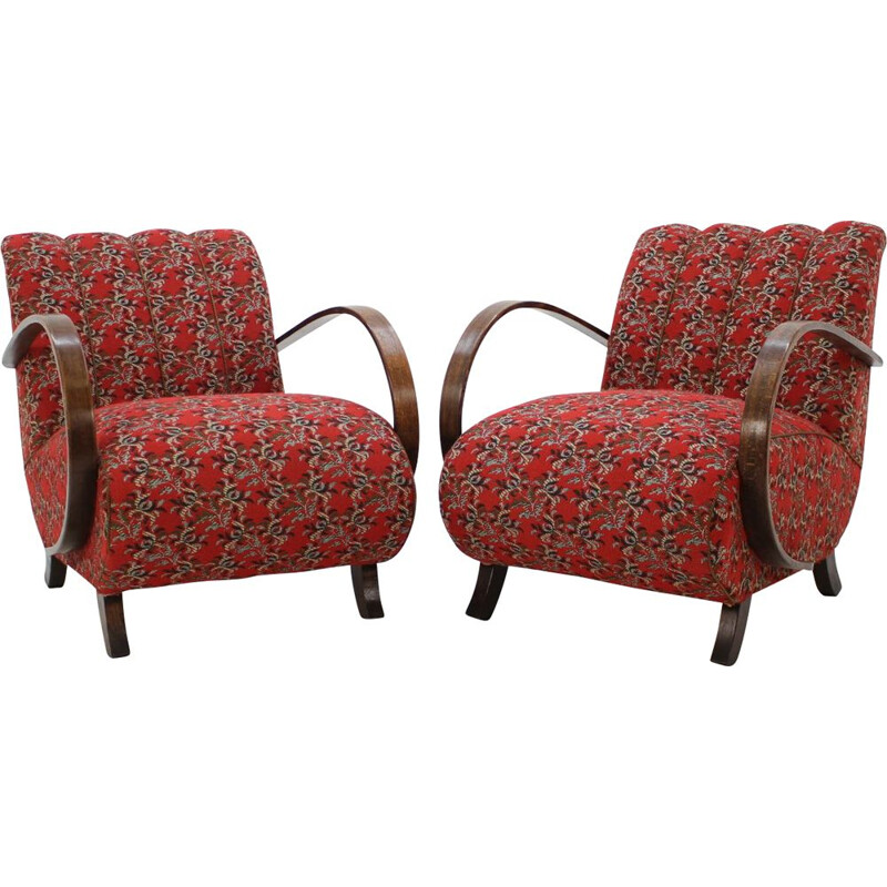 Set of 2 vintage armchairs in beech by Jindrich Halabala Czechoslovakia 1950s