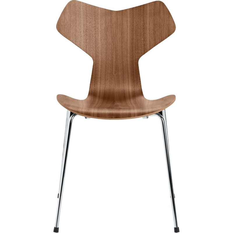 """Grand Prix"" chair with chromed base by Arne Jacobsen for FRITZ HANSEN"