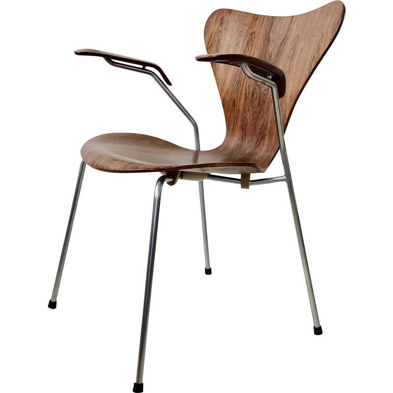 Vintage dining chair model 3207 in rosewood by Fritz Hansen 1955, Denmark