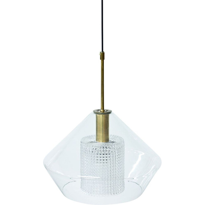 Vintage Swedish pendant light in glass and brass by Carl Fagerlund for Orrefors,1960