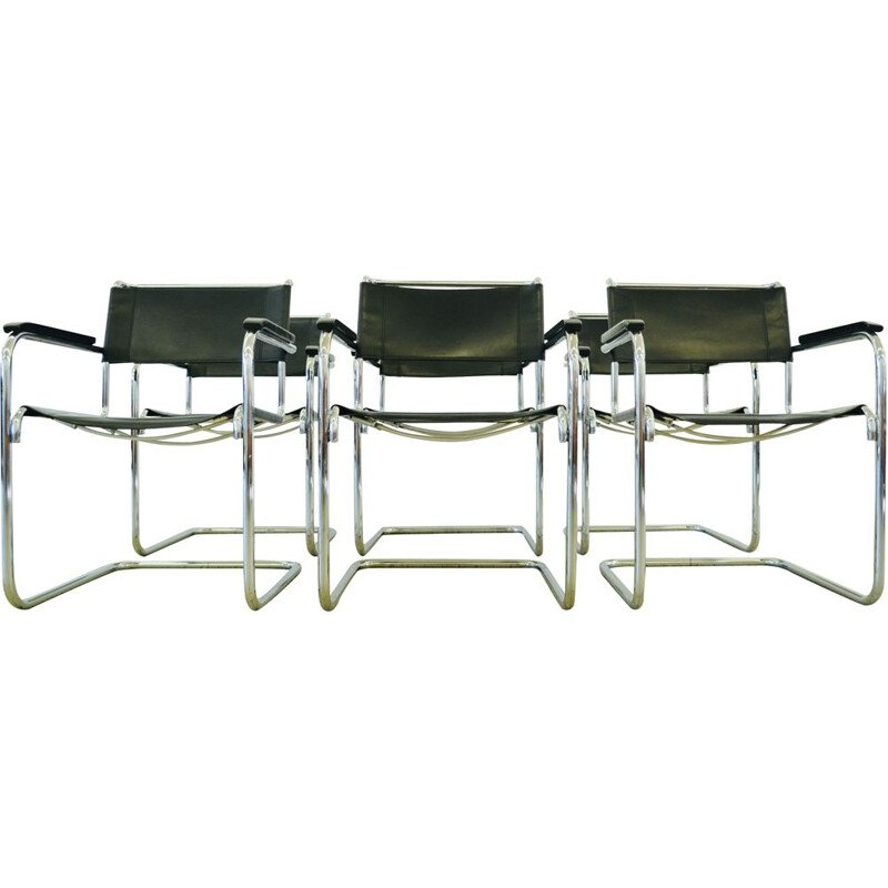 Set of 6 vintage Thonet S34 bauhaus chairs by Mart Stam