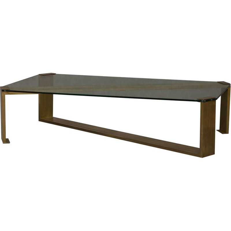 Vintage coffee table by Rega in brass and glass 1970