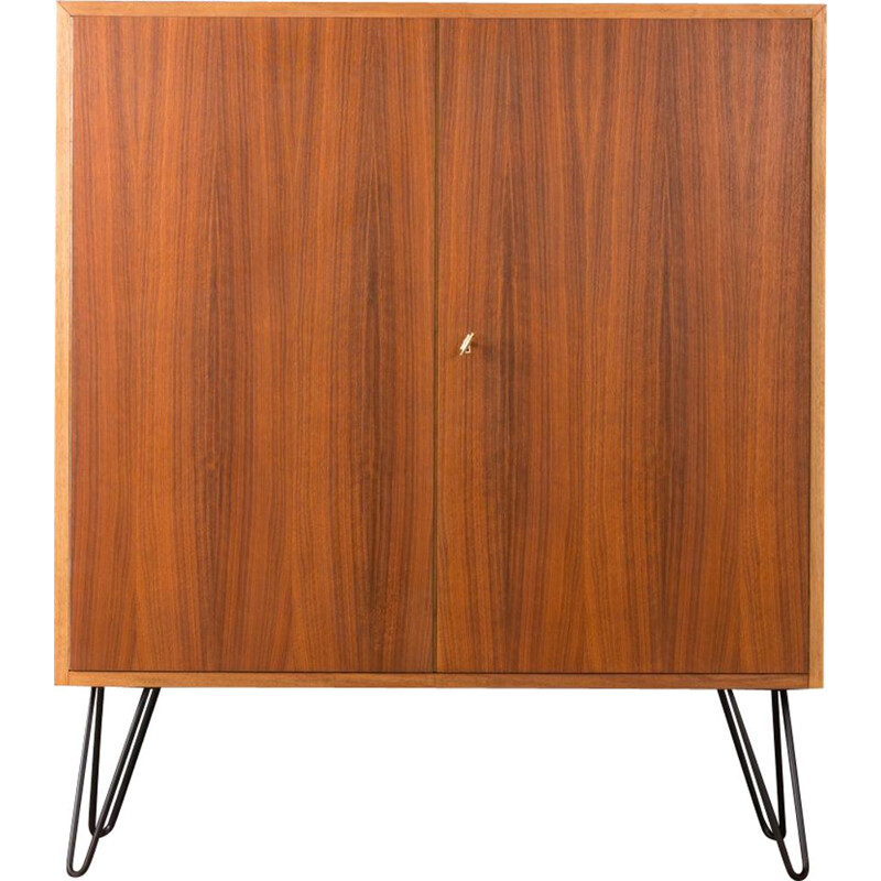 Vintage german shoe cabinet in walnut and steel 1960