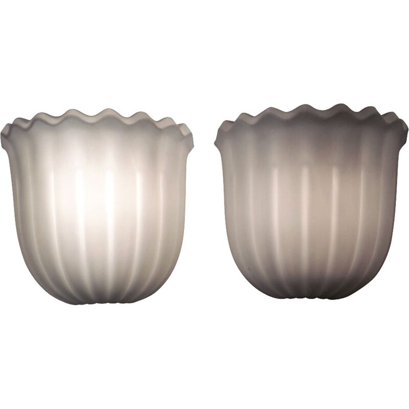 Pair of wall lamps in opaline by Limburg