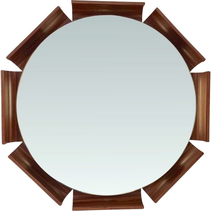 Octogonal light mirror in rosewood