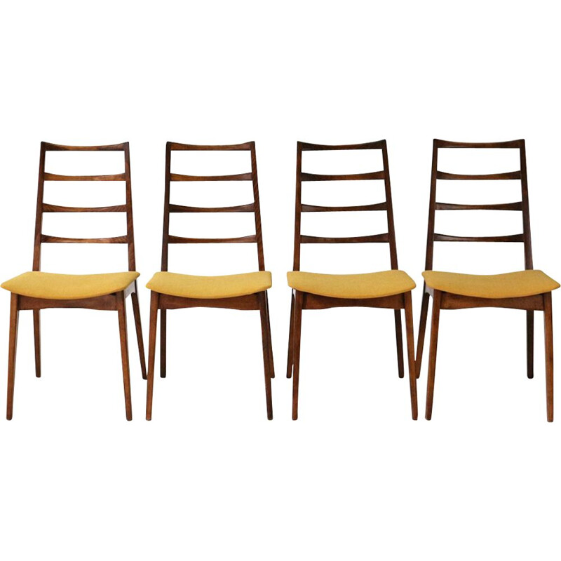 Set of 4 vintage german chairs in wood and yellow fabric 1960