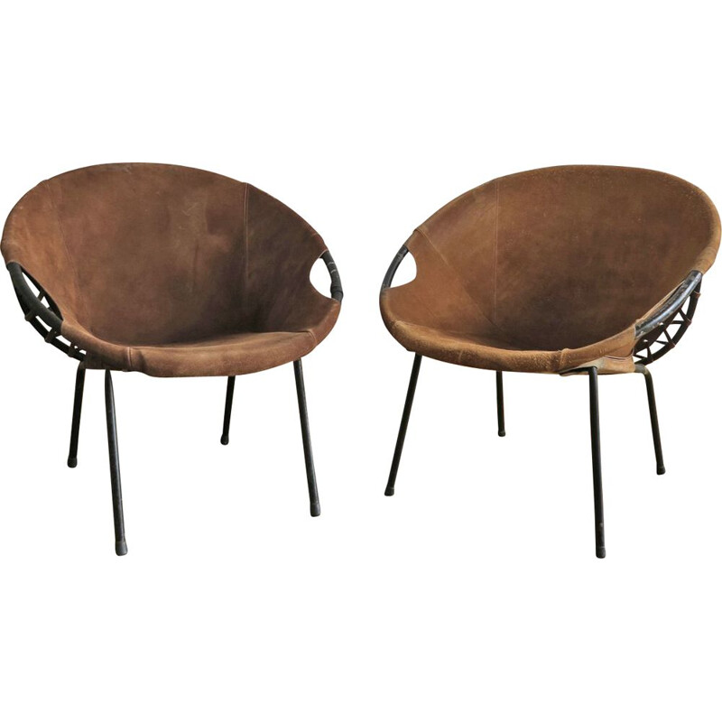 Pair of vintage armchairs by Lusch Erzeugnis in suede and metal 1960