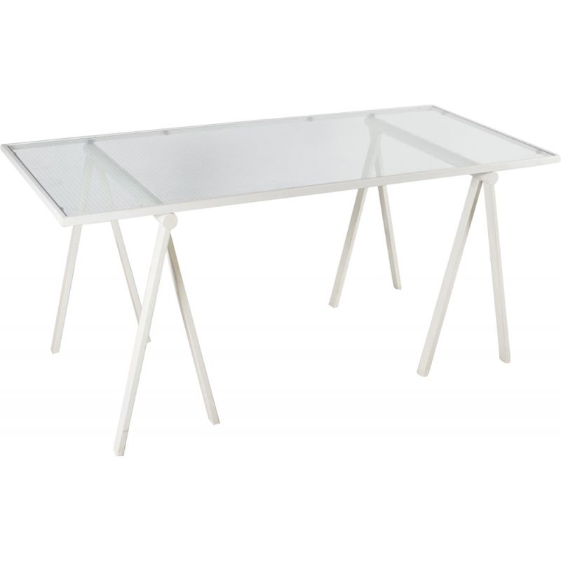 Vintage Italian table by Rodney Kinsman in white metal and glass 1970