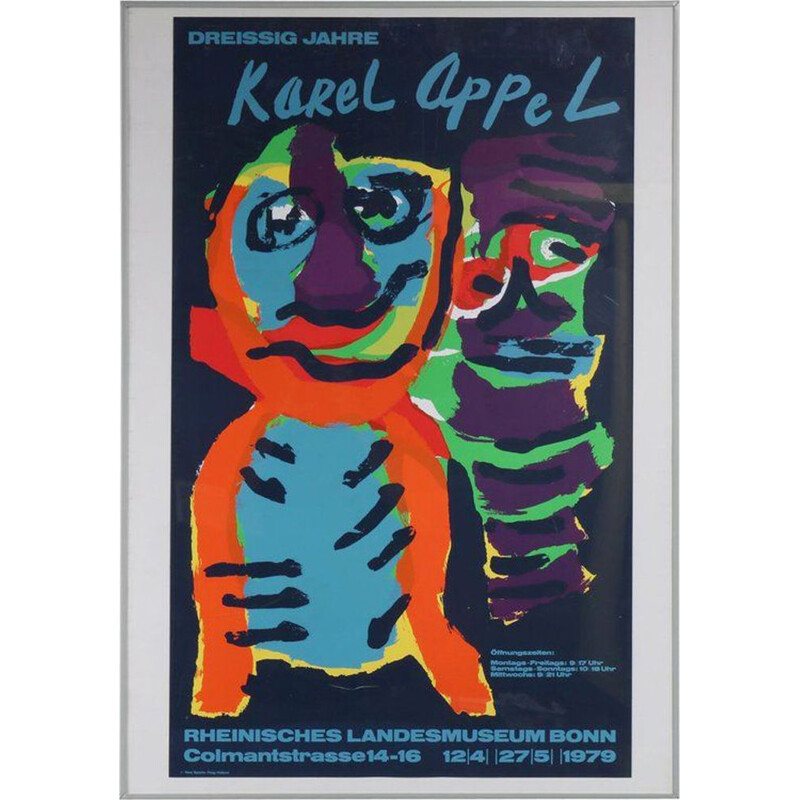 Vintage Karel Appel Silk Screen for the Rheinisches Landesmuseum Bonn 1979